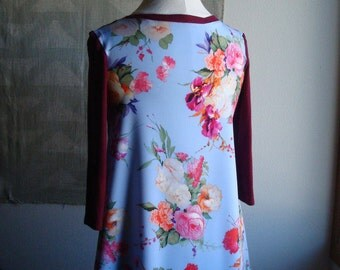 Maroon and Blue floral Tunic