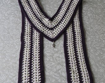 V Shaped Scarf Purple Cream Cotton Open Weave V Scarf Crochet