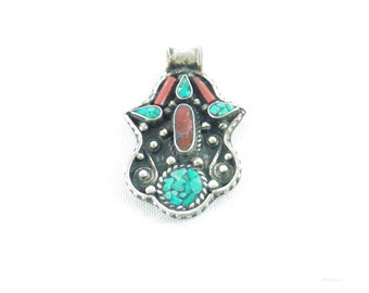 Pendant ethnic tribal hand of Fatima m turquoise and coral