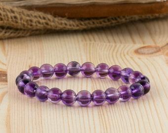Amethyst bracelet purple amethyst everyday bracelet gemstone amethyst beads jewelry protective stone purple women bracelet gift for mother