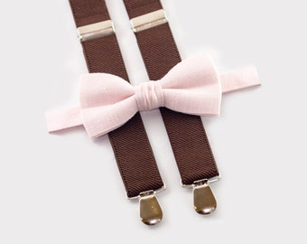 Boys Birthday Outfit, Pale Pink Bow Tie & Brown Suspenders, Boys Suspenders And Bow Tie