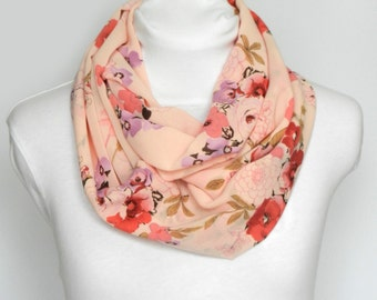 Pink Floral Infinity Scarf / Pastel Scarf/ Womens Scarf / Pink Infinity Scarf / Womens Infinity / Floral Scarf / Circle Scarf Fall Infinity