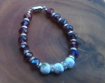 Swarovski Crystal Faceted Elements and  Ceramic Flower Beads Bracelet