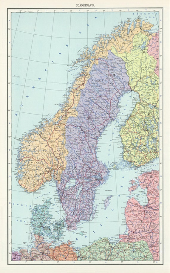 Vintage Sweden Norway And Denmark Map DigitalScandinavia Map - Map of scandinavia