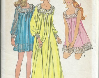 Butterick Sewing Pattern Vintage 5938 Misses Small 8/10 Nightgown Robe Unused Uncut From 1970s