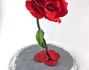 Light Up Rose, Enchanted Rose, Beauty and the Beast Rose, Gift For Her, Red Rose, Snow Covered Dome, Life Size Rose, Christmas Present