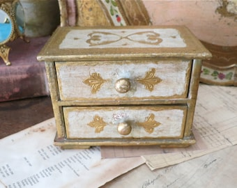 Vintage Florentine Jewelry Box-2 Drawer- Cream Gold-Made in Italy~Great Gift Idea!