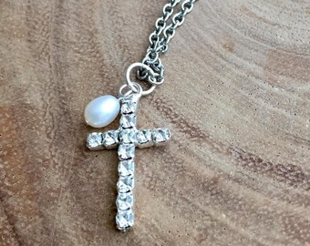 Crystal Cross necklace, Pearl with Cross, communion gift , Tiny crystal cross, First communion gift, Baptism gift, Bridesmaids gift