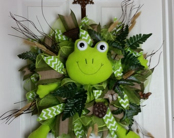Inventory Sale, Frog Wreath, Outdoor Decor, Spring Wreath, Summer Wreath, Everyday Wreath, Frontdoor Wreath