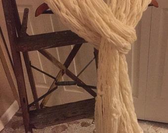 Arm Knit Fringe Scarf, Long fringe scarf, Women's scarf, Boho scarf, Shawl scarf