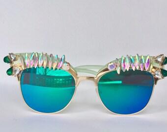 Green Embellished Festival sunglasses
