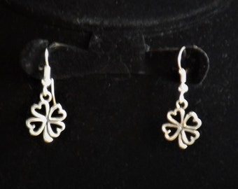 Four leaf heart clover sterling silver earrings, handcrafted good luck gift for students or St Patrick's day gift for her