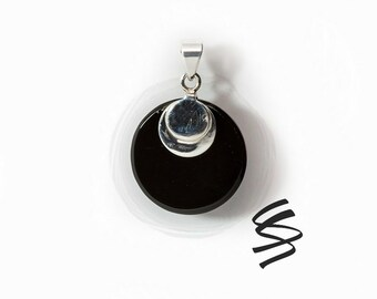Black Onyx Pendant Natural Stone Jewelry Black Gemstone Pendant Black Onyx Stone Silver Onyx Necklace Black Sterling Silver Pendant Gift Gem