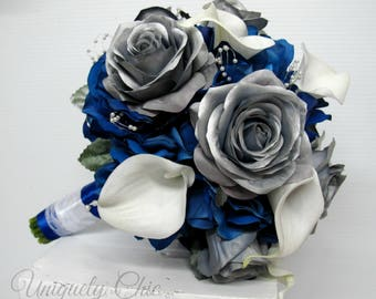 Silver rose Wedding bouquet, Royal blue Calla lily rose Bridal bouquet, silk wedding flowers