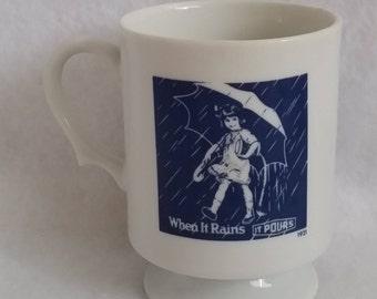 """Morton Salt Girl Coffee Cup Mug 4"""" Tall and 3"""" across top"""