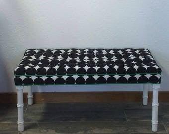 Upholstered Bench, White Bench, Dotscape, Dwell Studio, Black White, Polka Dot Print, Tufted Bench, Parson Bench, Ottoman, Stool