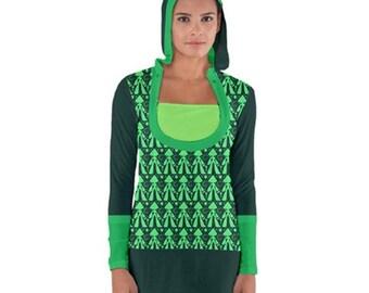 Peridot Dress - Hooded Dress Steven Universe Dress Crystal Gem Dress Green Dress Peridot Hoodie Nerdy Dress Geeky Dress Bodycon Dress