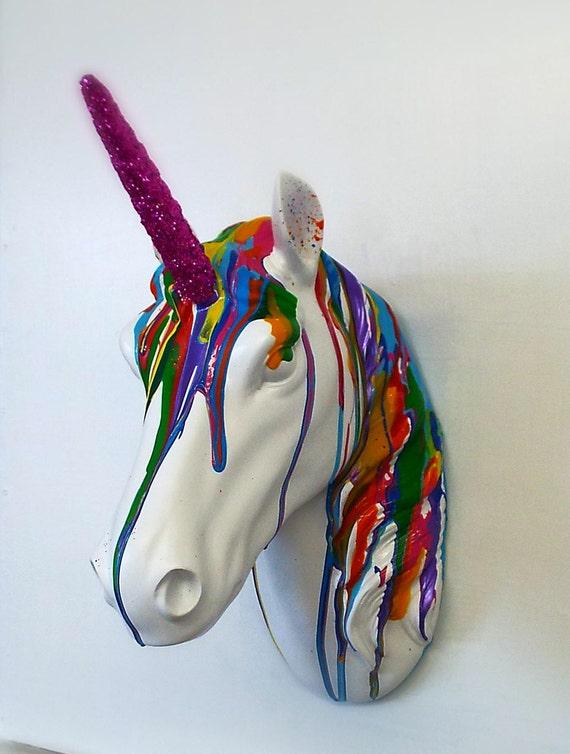 Unicorn Head Wall Mounted Art Bright Rainbow Colours