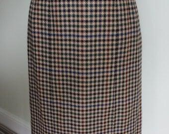 Tweed maxi skirt, vintage long pencil skirt, 1980's high waisted skirt, woolen fitted skirt, Scottish tweed skirt, preppy skirt, office wear