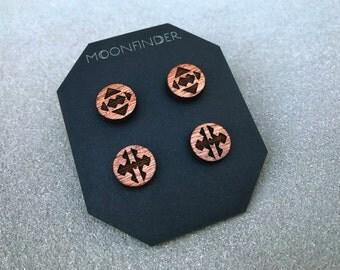 Wooden Stud Earrings - 2 Pair Southwestern Tribal Boho Natural Gift Laser Cut