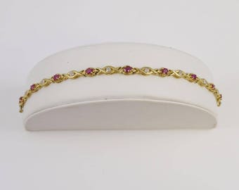 10k Yellow Gold Ruby & Diamond Bracelet 7'' Long(01138)