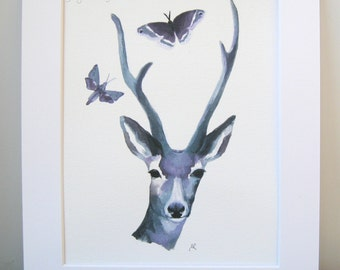 ORIGINAL PAINTING - Deer Animal Painting - Stag Painting - Animal Art, Butterfly - UK Seller, Contemporary Art - Affordable Art