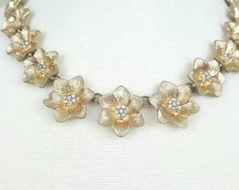 Vintage Gold Flowers Statement Necklace