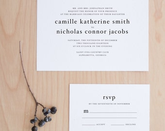 The Camille Suite  //  Modern Minimal Typography Horizontal Wedding Invitation
