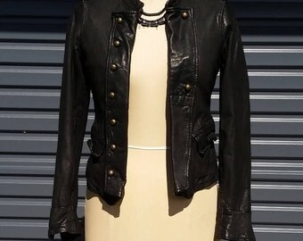 Vintage Military Biker Jacket in Black Leather