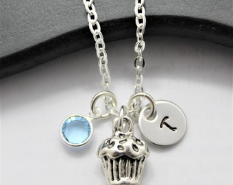 Cupcake Necklace - Silver Cupcake - Cupcake Jewelry - Little Girls Initial Necklace