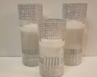 Wedding Centerpiece, Purple Decor, LED Centerpiece, Rhinestone Vases, Floating Candle Centerpiece, Silver Vases, Birthday Party, Graduation,