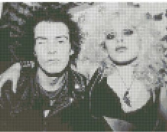 Sid and Nancy Black and White Punk Counted Cross Stitch Pattern-Instant PDF Pattern-Downloadable Cross Stitch Pattern-Counted Cross Stitch