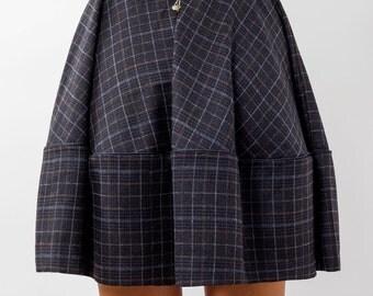 Blue Tartan skirt, Skater skirt, Circle Skirt, Full Skirt, Rockabilly Skirt, Pin Up Skirt, High Waist Skirt, Pleated Skirt, womens  Skirt