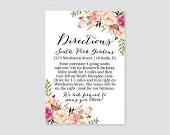 Printable OR Printed Wedding Direction Cards - Pink Floral Wedding Directions Inserts - Rustic Pink Flower Wedding Insert 0004