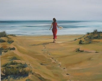 Original oil painting. Hand painted landscape. Oil painting, Large wall canvas, Seascape painting. Woman in Red. Ocean Beach