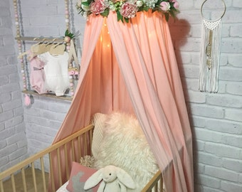 Canopy tent in pink, white or grey for baby or kids, use as cot canopy, crib canopy, bed canopies or as a reading nook. Nursery decor.