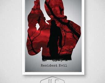 Resident Evil Video Game Poster, Leon Print