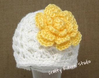 Crochet Baby Girl Newborn  Hat Beanie - Photo Prop Hat Choice of Flower Color