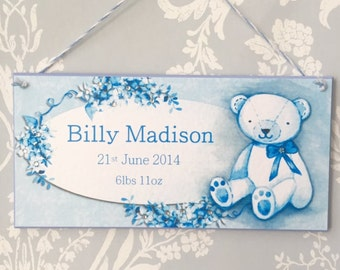 Teddy bear blue baby plaque