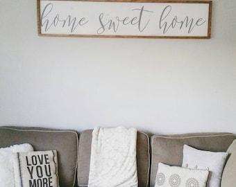 Farmhouse sign, home sweet home, modern wood sign, framed wood sign, modern farmhouse, rustic wood sign, farmhouse decor, rustic home decor