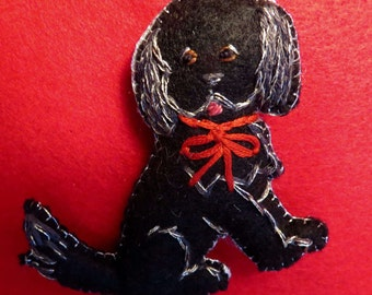 Felt Dog Ornament - black