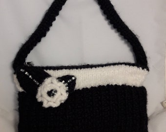 Black and White Knitted Purse with Beaded/Knit Flower Zippered Lined