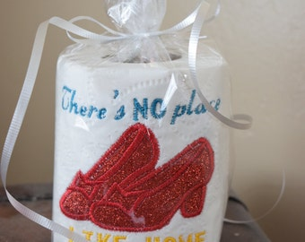 Funny Ruby Red Slippers, Dorothy, Wizard of Oz inspired Embroidered Gag Gift Novelty Toilet Paper