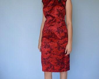 90s Red Black Oriental Dress / Morbid Threads Velvet Asian Dress / M