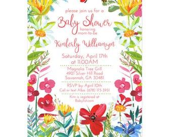 Editable, Printable Baby Shower Invitations - Wildflower Baby Shower Invitation - floral baby shower, DIY, daisy, poppy, red poppies