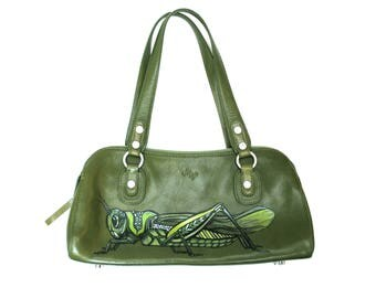 Green Grasshopper Hand Painted Upcycled Women's Leather Pocketbook Handbag