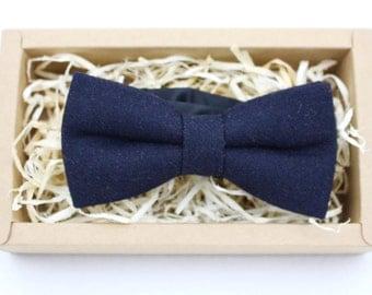 Men's Blue Wool Bow Tie