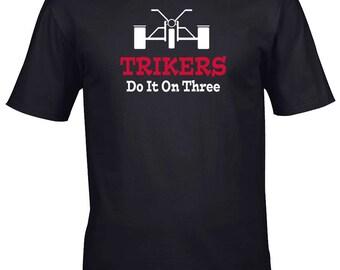 Trikers Do It On Three Mens Biker Black T Shirt in Sizes S -XXXL, motorcycle, trike