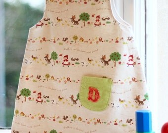 toddler/baby/girl dress, little red riding hood, fairy tale, handmade, vintage, forest, friends, wolf, pinafore