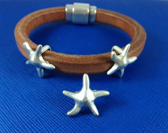 European slider for licorice leather - Licorice leather findings, zamak starfish beads - Leather bracelet supplies - Made in Spain